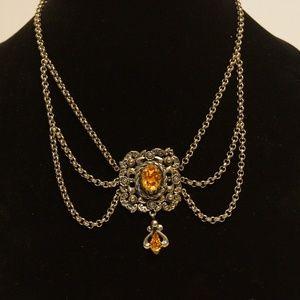 Jewelry - Victorian Style Necklace Topaz Stones